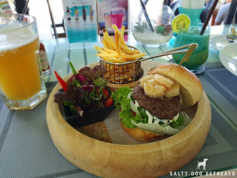 Fresh shrimp burger